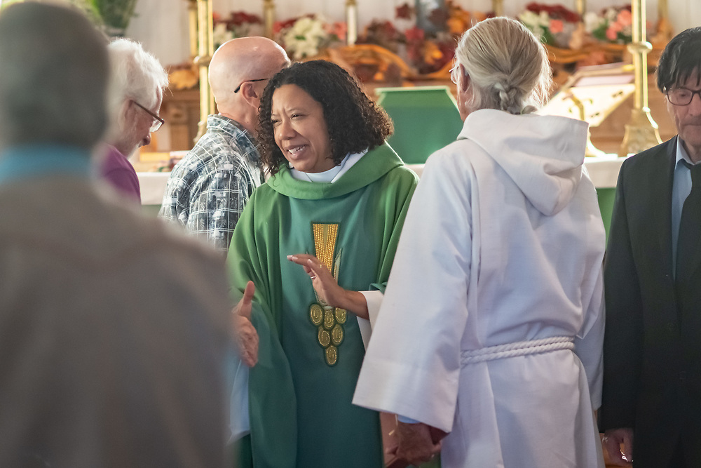 """Rev. Kimberly """"Kym"""" Lucas, the 11th Episcopal Bishop of Colorado visits St. Luke's Episcopal Church in Westcliffe, leading a service of Holy Communion and confirming two parishioners."""