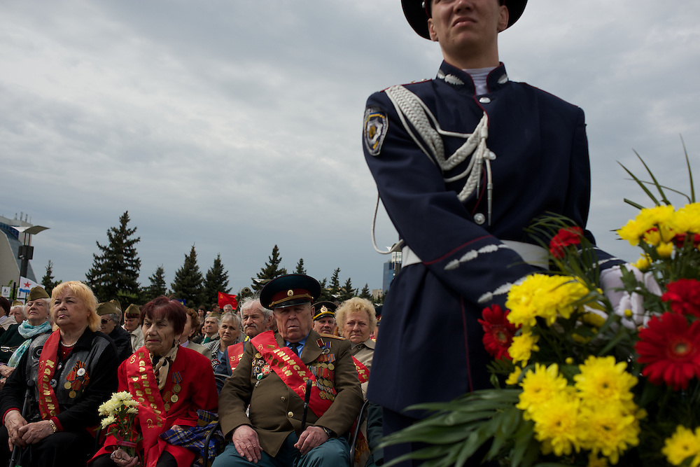 Veterans of the Second World War, attend a ceremony that marks 69 years since the Soviets defeated the Nazis, at the War Memorial in central Donetsk, amid tensions over the referendum for autonomy of the region to be held over the weekend.