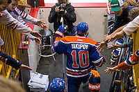 KELOWNA, CANADA - OCTOBER 2: Nail Yakupov #10 of the Edmonton Oilers enters the ice against Los Angeles Kings on October 2, 2016 at Kal Tire Place in Vernon, British Columbia, Canada.  (Photo by Marissa Baecker/Shoot the Breeze)  *** Local Caption *** Nail Yakupov;