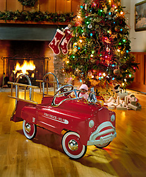 Little red fire engine pedal car next to Christmas tree in front of fireplace.
