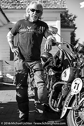 Dan Kraft with his 1934 Harley-Davidson VL at the Old Town Museum in Burlington, Colorado for the hosted dinner stop during Stage 8 of the Motorcycle Cannonball Cross-Country Endurance Run, which on this day ran from Junction City, KS to Burlington, CO., USA. Saturday, September 13, 2014.  Photography ©2014 Michael Lichter.