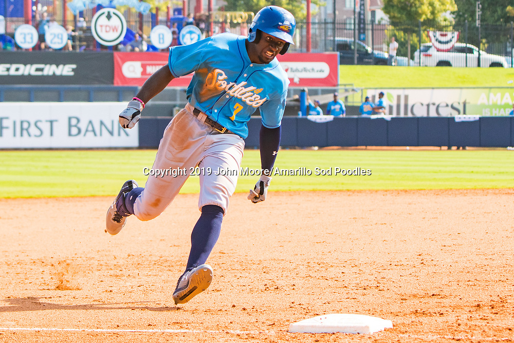 Amarillo Sod Poodles outfielder Taylor Trammell (7) after hitting a go-ahead grand slam in the ninth inning against the Tulsa Drillers during the Texas League Championship on Sunday, Sept. 15, 2019, at OneOK Field in Tulsa, Oklahoma. [Photo by John Moore/Amarillo Sod Poodles]