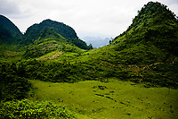 Mountains and valleys in northern Vietnam on the road to Mai Chau.