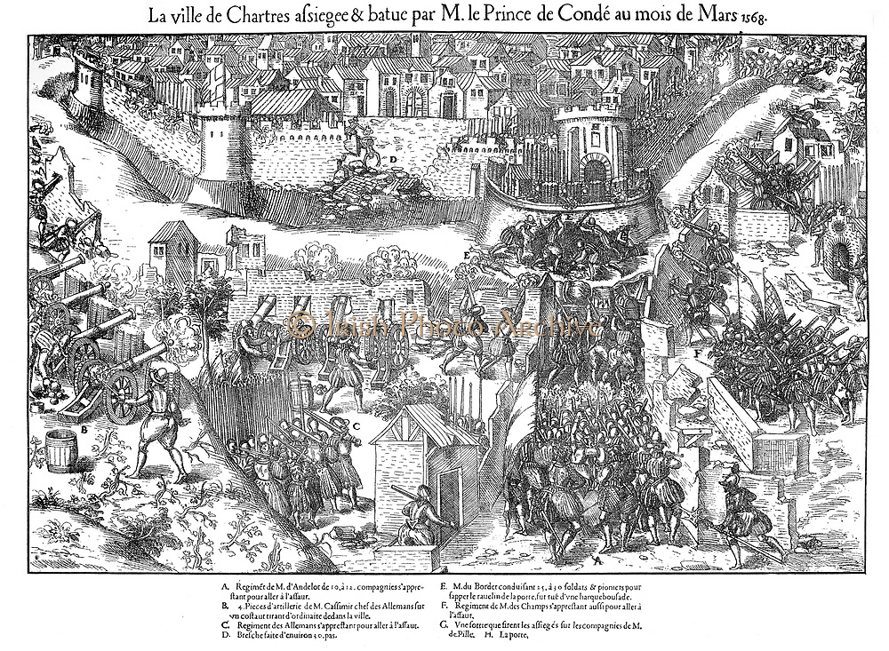 French Religious Wars 1562-1598. Siege of Chartres.  Huguenots besieged Chartres at the end of February 1568, breaching the north wall with artillery. Assault launched on 7 March unsuccessful . Sappers work to undermine bastion forming part of city defences. Siege lifted on signature of Peace of Longjumeau, 23 March  . Engraving by Jacques Tortorel (fl1568-1590) and Jean-Jacques Perrissin (1536-1617) from their series on the Huguenot Wars, c1570.