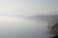 View of Killiney bay in Dublin Ireland on a misty winter morning