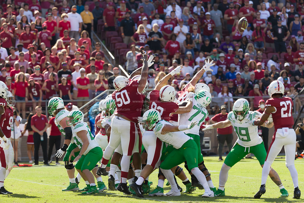 COLLEGE FOOTBALL:  Stanford vs Oregon on October 2, 2021 at Stanford Stadium in Palo Alto, California.  Stanford won in overtime by a score of 31-24.  Photograph by David Madison   www.davidmadison.com