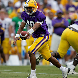 18 April 2009: LSU quarterback Russell Shepard (10) looks to handoff during the 2009 LSU spring football game at Tiger Stadium in Baton Rouge, LA.