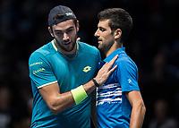 Tennis - 2019 Nitto ATP Finals at The O2 - Day One<br /> <br /> Singles Group Bjorn Borg: Novak Djokovic vs. Matteo Berrettini<br /> <br /> Novak Djokovic (Serbia) and Matteo Berrettini (Italy) at the end of the match <br /> <br /> COLORSPORT/DANIEL BEARHAM