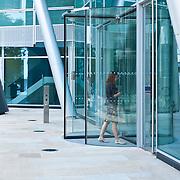 Businesswoman entering office