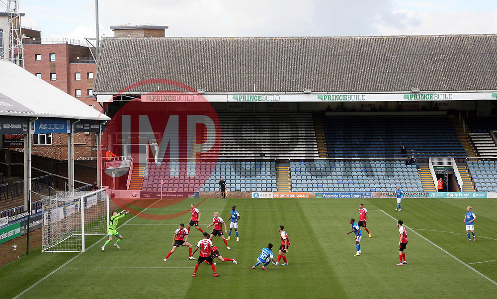 A general view of the action between Peterborough United and Cheltenham Town played behind closed doors - Mandatory by-line: Joe Dent/JMP - 05/09/2020 - FOOTBALL - Weston Homes Stadium - Peterborough, England - Peterborough United v Cheltenham Town - Carabao Cup