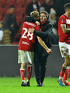 Bristol City manager Lee Johnson hugs Joe Morrell (28) of Bristol City as he celebrates the 2-1 win over Bolton at full time during the The FA Cup fourth round match between Bristol City and Bolton Wanderers at Ashton Gate, Bristol, England on 25 January 2019.