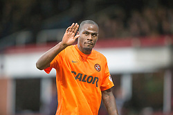 Dundee United's Guy Demel waves to fans, after his red card after he tackled Dundee's Nicky Low. Dundee United's manager Mixu Paatelainen not too happy. Dundee 2 v 1  Dundee United, SPFL Ladbrokes Premiership game played 2/1/2016 at Dens Park.