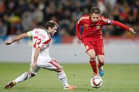 Spain's Jordi Alba (r) and Belarus' Timofei Kalachev during 15th UEFA European Championship Qualifying Round match. November 15,2014.(ALTERPHOTOS/Acero)