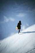 Woman walking in Komsomolsk-on-Amur.Siberia, Russia