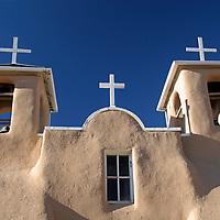 USA, New Mexico, Taos. The San Francisco de Asis adobe church, a National Historic landmark in the Land of Enchantment.