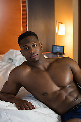 sexy black man in bed