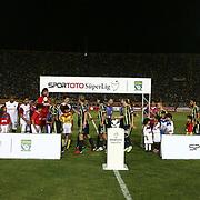 S.B. Elazigspor's and Fenerbahce's players before their Turkish superleague soccer match S.B. Elazigspor between Fenerbahce at the Ataturk stadium in izmir Turkey on Saturday 18 August 2012. Photo by TURKPIX