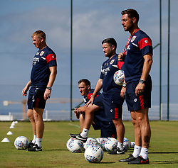 Bristol City head coach Lee Johnson, Dean Holden, Jamie McAllister and Rhys Carr watch the training session - Mandatory by-line: Matt McNulty/JMP - 20/07/2017 - FOOTBALL - Tenerife Top Training Centre - Costa Adeje, Tenerife - Pre-Season Training