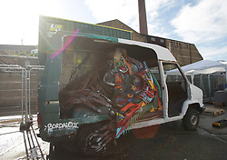 A piece by artist Bordalo II entitled 'Half Orangutango' during a press preview of the exhibition Festival Iminente, at Brick Lane Yard, Old Truman Brewery in east London.