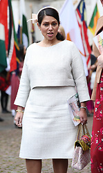 Home Secretary Priti Patel leaving after the Commonwealth Service at Westminster Abbey, London on Commonwealth Day. The service is the Duke and Duchess of Sussex's final official engagement before they quit royal life.
