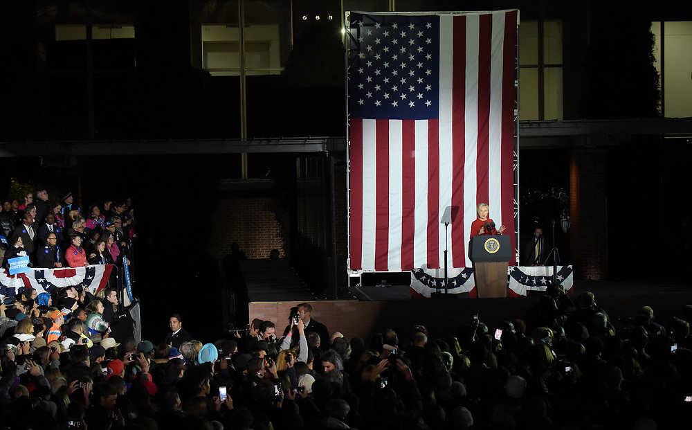 A rally was held for Democratic presidential candidate Hillary Clinton on Nov. 7, 2016, at Independence Mall in Philadelphia, Pennsylvania. The rally featured President Barack Obama, First Lady Michelle Obama and musical performances from Bruce Springsteen and Jon Bon Jovi. (Photo by Matt Smith)