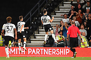 Derby County forward Tom Lawrence (10) celebrates after scoring a goal to make it 2-0 during the EFL Sky Bet Championship match between Derby County and Ipswich Town at the Pride Park, Derby, England on 21 August 2018.