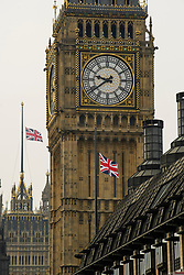 © Licensed to London News Pictures. 23/03/2017. London, UK. Union Flags fly at half mast on parliament buildings, the day after a lone terrorist killed 4 people and injured several more, in an attack using a car and a knife. The attacker managed to gain entry to the grounds of the Houses of Parliament, killing one police officer. Photo credit: Ben Cawthra/LNP