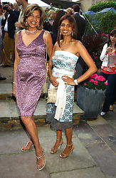 Left to right, VIMLA LALVANI and her daughter DIVIA LALVANI  at Michele Watches Kaleidoscope Summer Garden Party held at Home House, Portman Square, London on 15th June 2005.<br />