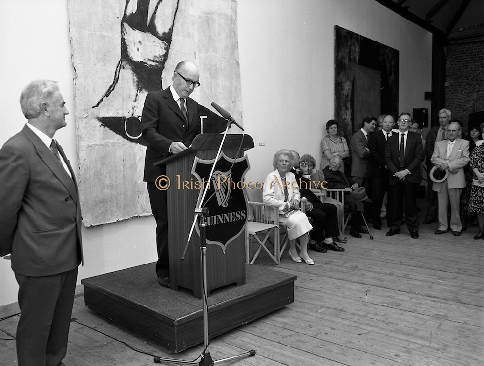 19/08/1988<br /> 08/19/1988<br /> 19 August 1988<br /> Opening of ROSC '88 at the Guinness Hop Store, Dublin. Patrick Murphy, ROSC Chairman, ( left) stands next to President Patrick Hillery (second from left) who officially opened the exhibition;  Maeve Hillery seated in white.