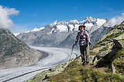 From Fiesch, lift to Fiesheralp, then hike to vast views of Aletsch Glacier via Hohbalm, Moosfluh, Hohfluh, Riderfurke, and Riederalp. Grosser Aletschgletscher is the largest glacier in the Alps (23 km or 14 miles long in 2014). The Swiss Alps Jungfrau-Aletsch region is honored as a UNESCO World Heritage Site. For licensing options, please inquire.