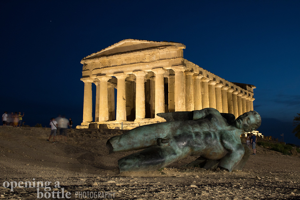 Tempio della Concordia (The Temple of Concordia) as seen just after sunset and blue hour at the Valley of Temples near Agrigento, Sicily, Italy, an UNESCO World Heritage Site.