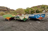 09 JAN 2006, SAO FELIPE/FOGO/CAPE VERDE:<br /> Fischerboote am schwarzen Lavastrand, in der Naehe von  Sao Felipe, Insel Fogo, Kapverdischen Inseln<br /> Fisherboats on the black Lava beach, near to Sao Felipe,  island Fogo, Cape verde islands<br /> IMAGE: 20060109-01-016<br /> KEYWORDS: Travel, Reise, Natur, nature, Meer, sea, seaside, Küste, Kueste, coast, cabo verde, Dritte Welt, Third World, Kapverden, Fischfang, Schiff, meer, Sea,