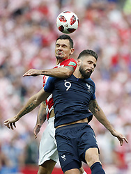 (L-R) Dejan Lovren of Croatia, Olivier Giroud of France during the 2018 FIFA World Cup Russia Final match between France and Croatia at the Luzhniki Stadium on July 15, 2018 in Moscow, Russia