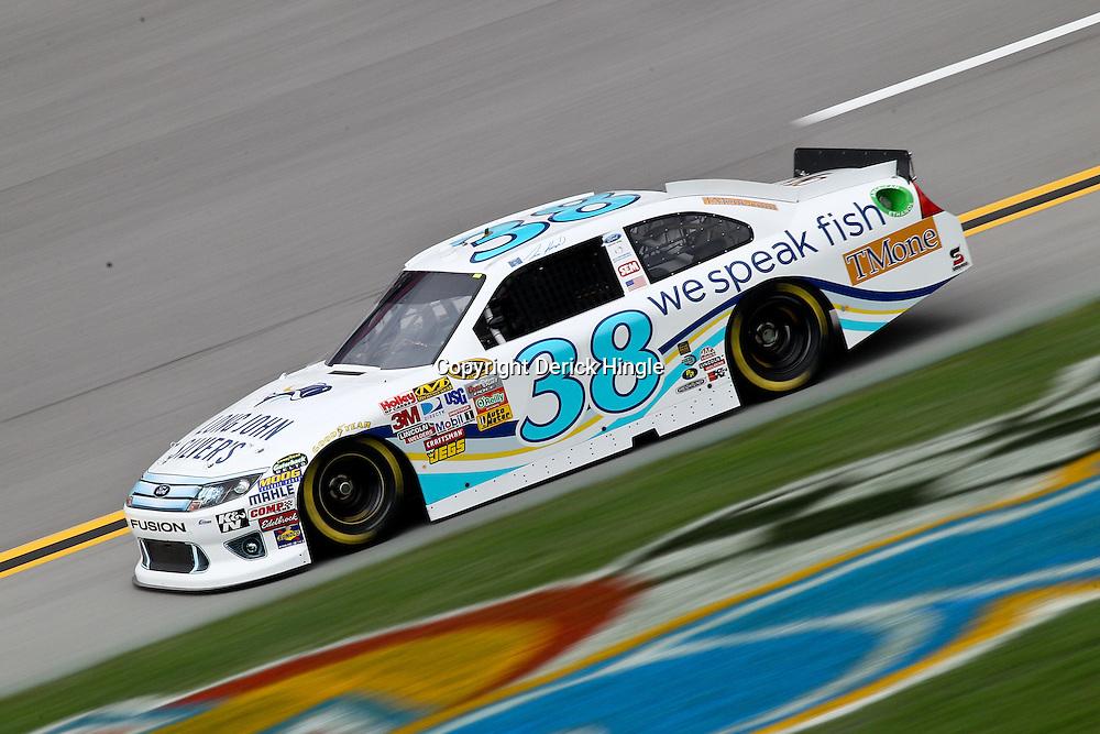 April 15, 2011; Talladega, AL, USA; NASCAR Sprint Cup Series driver Travis Kvapil (38) during practice for the Aarons 499 at Talladega Superspeedway.   Mandatory Credit: Derick E. Hingle