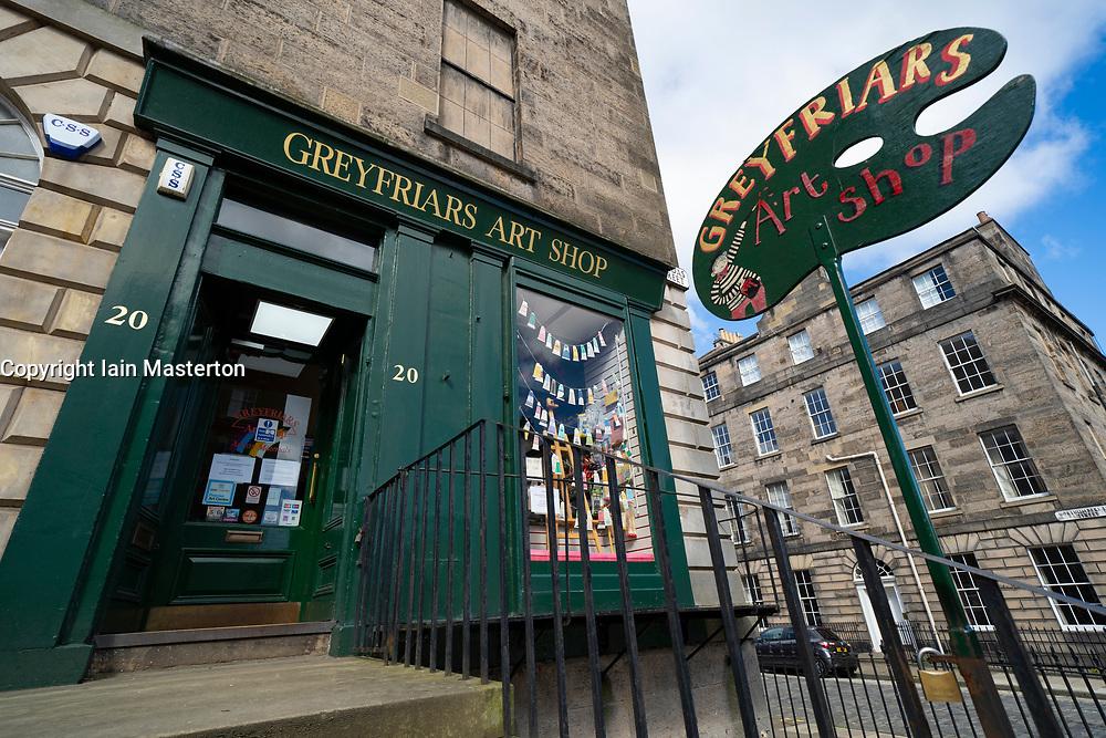 Exterior of Greyfriars Art Shop on Dundas Street in New Town of Edinburgh, Scotland, UK