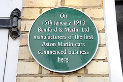 © Licensed to London News Pictures. 15/01/2013.The 100 years anniversary of Aston Martin.Plaque unveiling to mark 100th Anniversary of Aston Martin who started the company on this day (15thJanuary) in 1913 at this address(16 Henniker Mews, London, SW3 6BL).Photo credit : Grant Falvey/LNP