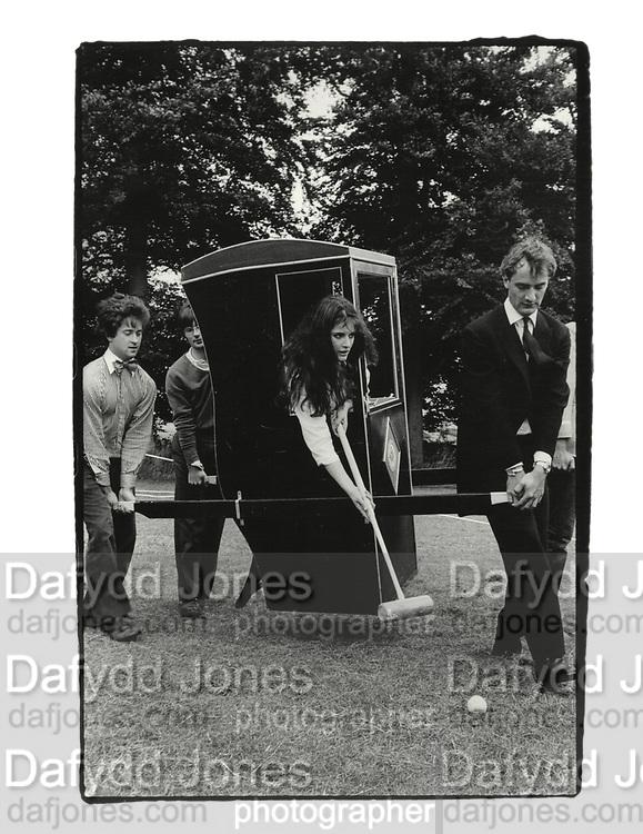 Nigella Lawson, Dangerous Sports club tea party. Gloucestershire. 1981. Supported by Hugo Spowers, Hubie Gibbs, and Adam Sedgewick