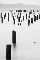 Wooden piers in Columbia River, Astoria, Oregon, USA