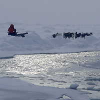Expedition dog team mushes along an open lead on frozen Arctic Ocean (10,000' deep).