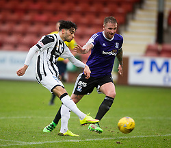 Dunfermline's Faissal El Bahktaoui and Ayr United's Ryan Stevenson. <br /> Dunfermline 3 v 2 Ayr United, Scottish League One played at East End Park, 13/2/2016.