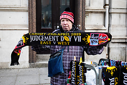 A scarf vendor on Westgate Street<br /> <br /> Photographer Simon King/Replay Images<br /> <br /> Guinness PRO14 Round 21 - Dragons v Scarlets - Saturday 27th April 2019 - Principality Stadium - Cardiff<br /> <br /> World Copyright © Replay Images . All rights reserved. info@replayimages.co.uk - http://replayimages.co.uk