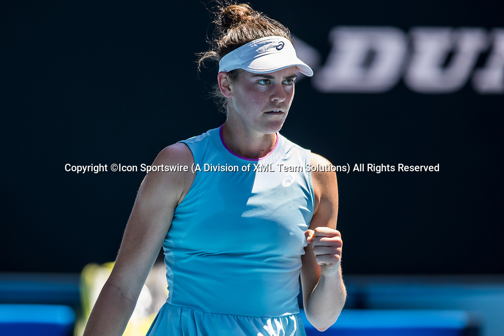 MELBOURNE, VIC - FEBRUARY 17: Jennifer Brady of the United States of America celebrates after winning a game during the quarterfinals of the 2021 Australian Open on February 17 2021, at Melbourne Park in Melbourne, Australia. (Photo by Jason Heidrich/Icon Sportswire)