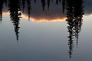 Sunset reflection on Upper Tipsoo Lake at Mount Rainier National Park in Washington State, USA