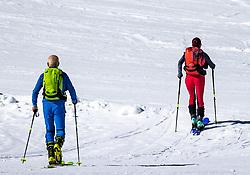 TEMENBILD - zwei Skitourengeher steigen über die präparierte Piste zu ihrem Tourenziel Resterkogel auf. Pass Thurn, Sonntag 15. März 2020 // two ski tourers climbs up to the Resterkogel on the prepared ski slope. Pass Thurn, Sunday March 15, 2020. EXPA Pictures © 2020, PhotoCredit: EXPA/ Johann Groder