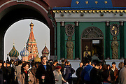 Moscow, Russia, 18/04/2004..Weekend crowds in Red Square visit the Kremlin, St Basil's Cathedral, the Russian State Historical Museum and the Iverskoi Chapel of the Icon of the Mother of God...