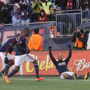 Charlie Davies, (right), New England Revolution, celebrates the first of his two goal during the New England Revolution Vs New York Red Bulls, MLS Eastern Conference Final, second leg. Gillette Stadium, Foxborough, Massachusetts, USA. 29th November 2014. Photo Tim Clayton