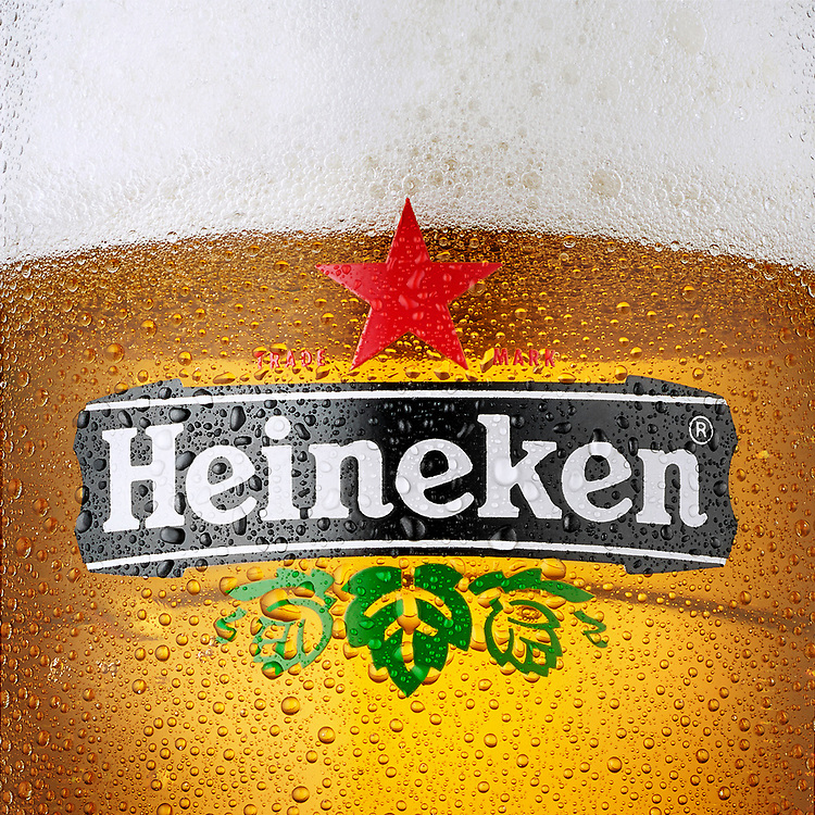 Cold Heineken Beer Close Up With Condensation droplets forming.