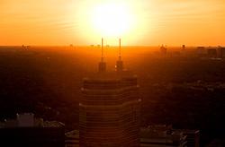 Aerial sunset view of O'Quinn Medical Tower at St. Luke's Hospital in Houston's Texas Medical Center.