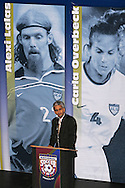 28 August 2006: US Soccer Federation President Sunil Gulati presented 2006 Hall of Fame inductee Alexi Lalas (not pictured) for enshrinement. The National Soccer Hall of Fame Induction Ceremony was held at the National Soccer Hall of Fame in Oneonta, New York.