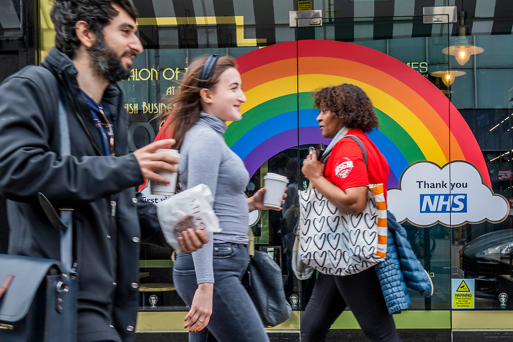 Rainbow and other messages of support for the NHS. The day of the Governments 'big' announcement on the possible easing of restrictions. The 'lockdown' continues for the Coronavirus (Covid 19) outbreak in London.